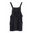 Preppy Style Vertical Stripe Single Pocket Front Slip Dress