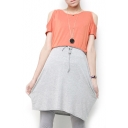 Cold Shoulder Orange&Gray Panel Drawstring Waist Midi Dress