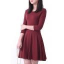 Plain Ruffle Hem Open Shoulder 3/4 Sleeve Fitted Dress