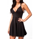 Sexy V-Neck Sleeveless A-Line Dress with Strappy Back