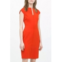 Split V-Neck Modern Slim Office Lady Style Orange Dress