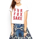 White Short Sleeve Red Letter Print Crop T-Shirt