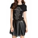 Black City Names Print Short Sleeve T-Shirt