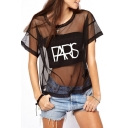 Black Short Sleeve Sheer Net Insert Loose T-Shirt