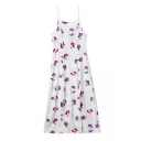 White Background All Over Flower Print Slip Dress