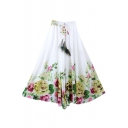 White Elastic Waist Floral Print Chiffon A-Line Skirt
