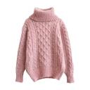 Plain Diamond Knit High Neck Long Sleeve Mohair Sweater