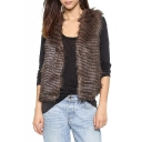 Brown Soft Wave Faux Fur Vest with Double Pockets