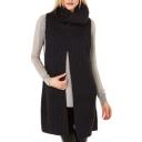 Black Roll Neck Plain Tulip-Front Sleeveless Sweater