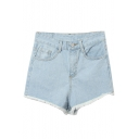 Light Blue High Waist Plain Denim Shorts with Frayed Cuffs