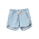 Plain Mid Waist Loose Denim Shorts with Drawstring Waist
