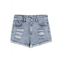Acid Wash Distressed High Waist Cuffed Denim Shorts