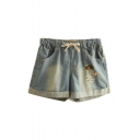 Light Wash Denim Letter Animal Embroidered Elastic Waist Shorts
