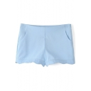 Blue Plain Wave Hem Pocket Zippered Shorts