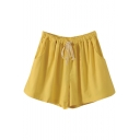 Yellow Drawstring Waist Casual Loose Shorts
