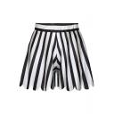 Black Wide Leg Stripe Print Fitted Shorts