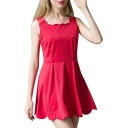 Red Sleeveless Square Neck Zipper Back Tank Dress