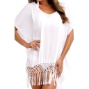 White Sheer Scoop Short  Sleeve Cover Up with Tassel
