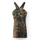 Ethnic Print Sleeveless Strap Backless Dress