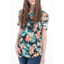 Letter and Floral Print Round Neck Fitted Tee