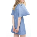 Plain Round Neck Flared Short Sleeve Denim Dress