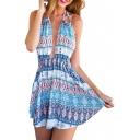 Ethnic Print Halter Open Back Beach Dress