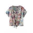 Cream Short Sleeve Flora Print Bow Hem Blouse