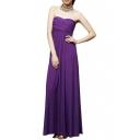 Elegant Ladylike Strapless Ruched Bohemia Style Longline Dress