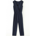 Navy Plain Sleeveless Elastic Waist Cutout Jumpsuit