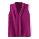 Purple Plain V-Neck Sleeveless Blouse
