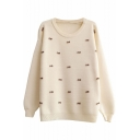 Preppy Look Plain Bows Panel Long Sleeve Round Neck Mohair Sweater