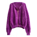 Gold Zipper Fly Round Neck Plain Cropped Mohair Cardigan