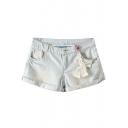 Bleached Cuffed Hem Bow Embellished Denim Shorts