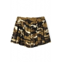 Yellow Camouflage Print Loose Shorts