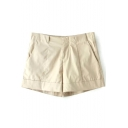 Beige Seam Detail Casual Shorts