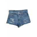 Blue Mid Waist Ripped Zip Fly Denim Shorts