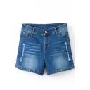 Blue High Waist Ripped Elastic Denim Shorts