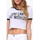 White Round Neck Short Sleeve Letter Print Crop T-Shirt