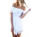 White Off the Shoulder Lace Trimmed A-Line Dress