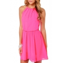 Rose Pink Sleeveless Round Neck A-line Chiffon Dress