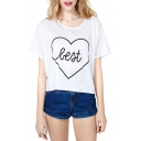White Short Sleeve Heart Best Print T-Shirt