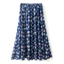 Navy Background All Over Lips Pattern A-line Midi Skirt