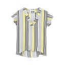 Yellow Striped V-Neck Short Sleeve Chiffon Shirt
