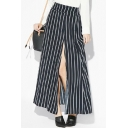 Black Striped Side Split Loose Maxi Skirt