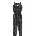 Black Geometry Pattern Print Jumpsuit