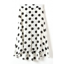 Asymmetric Hem Polka Dot White Longline Skirt