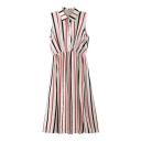 Colorful Striped Sleeveless Lapel Midi Shirt Dress