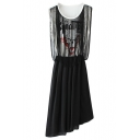 Black Sleeveless Skull Tassel Top Asymmetric Hem Dress