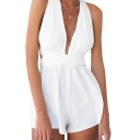 White Sleeveless Cross Back Romper with Bow Back