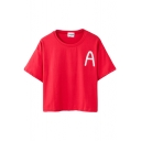 Letter A Print Loose Short Sleeve T-Shirt
